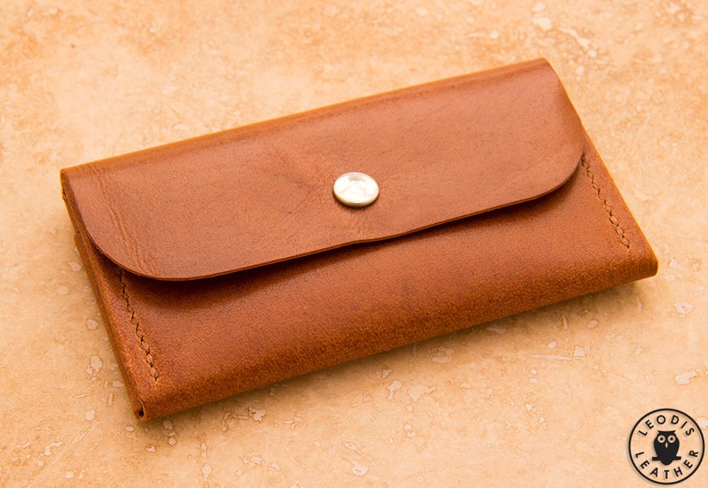 Compact Leather Purse Mid Brown Llama Hide image 0