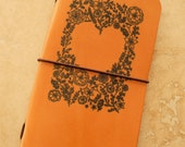 Leather Field Notes or Moleskine Cahier Notebook Cover (Flower Heart)