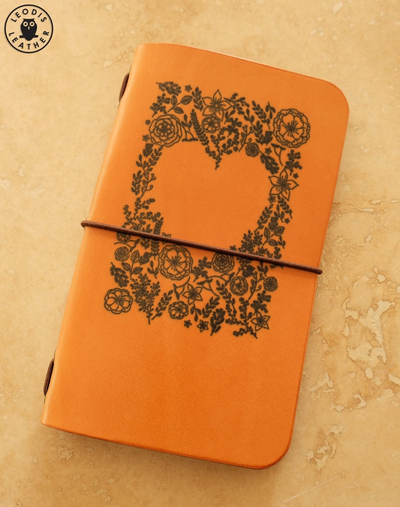 Leather Field Notes or Moleskine Cahier Notebook Cover Flower image 0