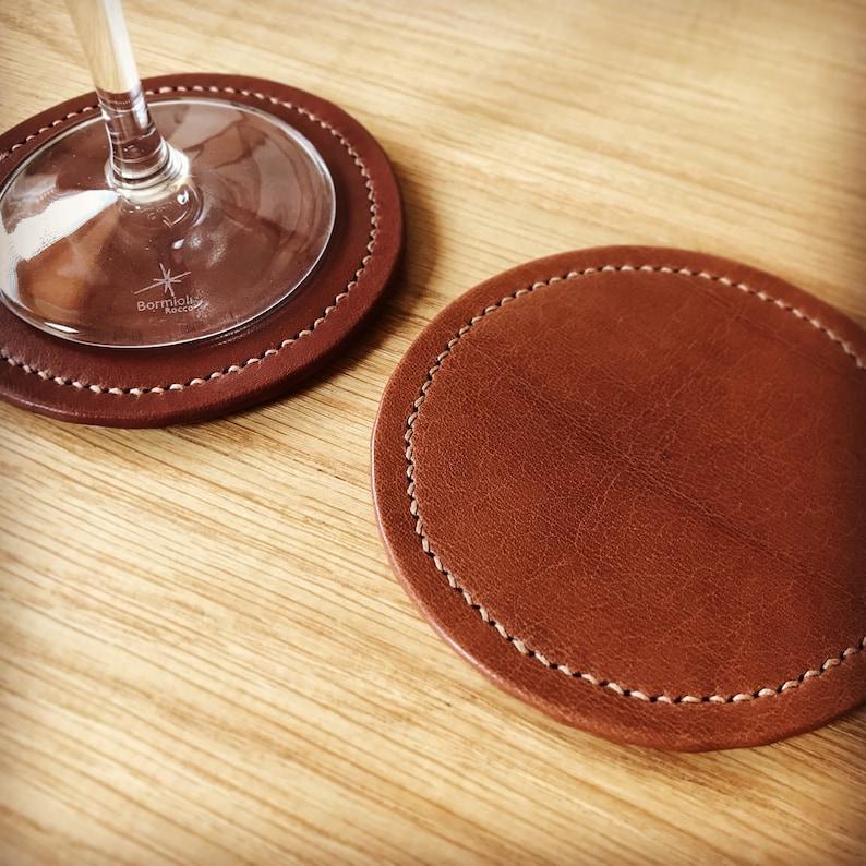 Leather Coaster chestnut image 0