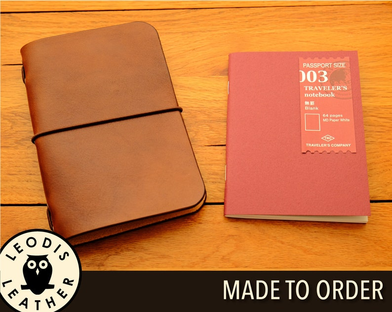Leather Midori Passport Traveller's Notebook Cover Made image 0