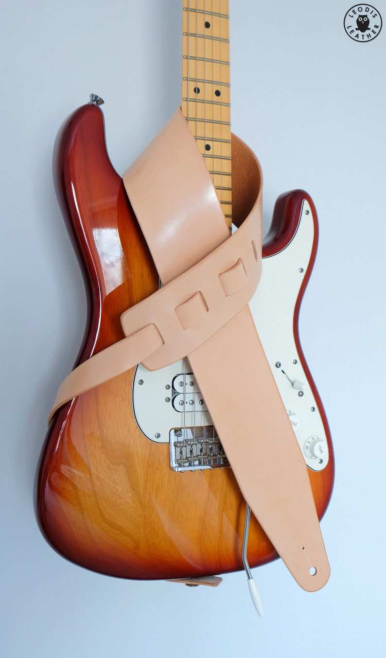 Leather Guitar Strap Natural image 0