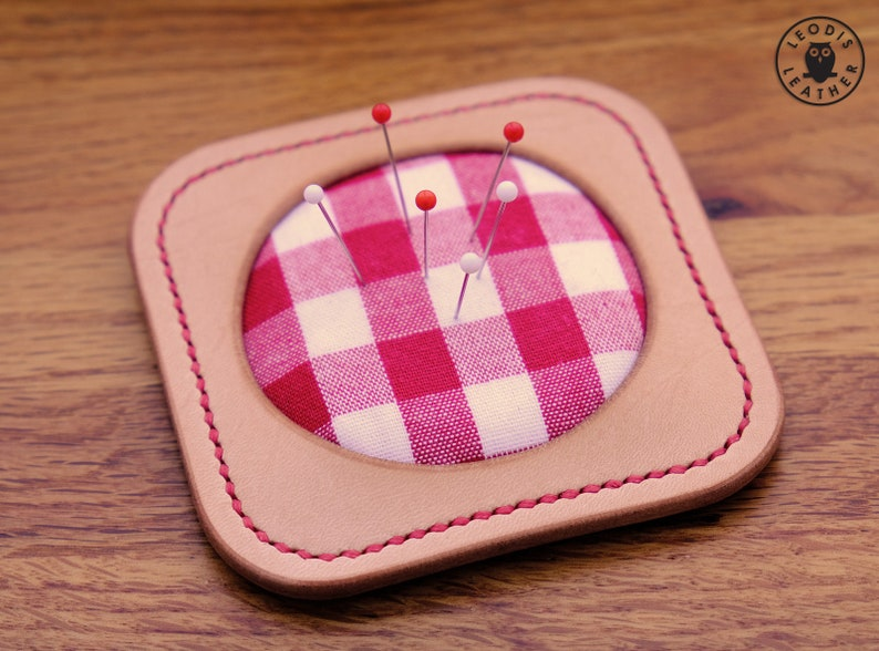 Leather Pincushion russet/red gingham image 0
