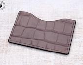 Leather Micro Card Wallet (Grey Crocodile Print)