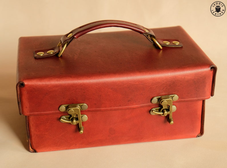 Leather Toolbox or Tote 10 bordeaux image 0