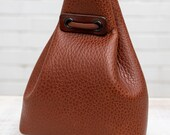 Small Leather Pouch (Mid Brown Textured Calfskin)