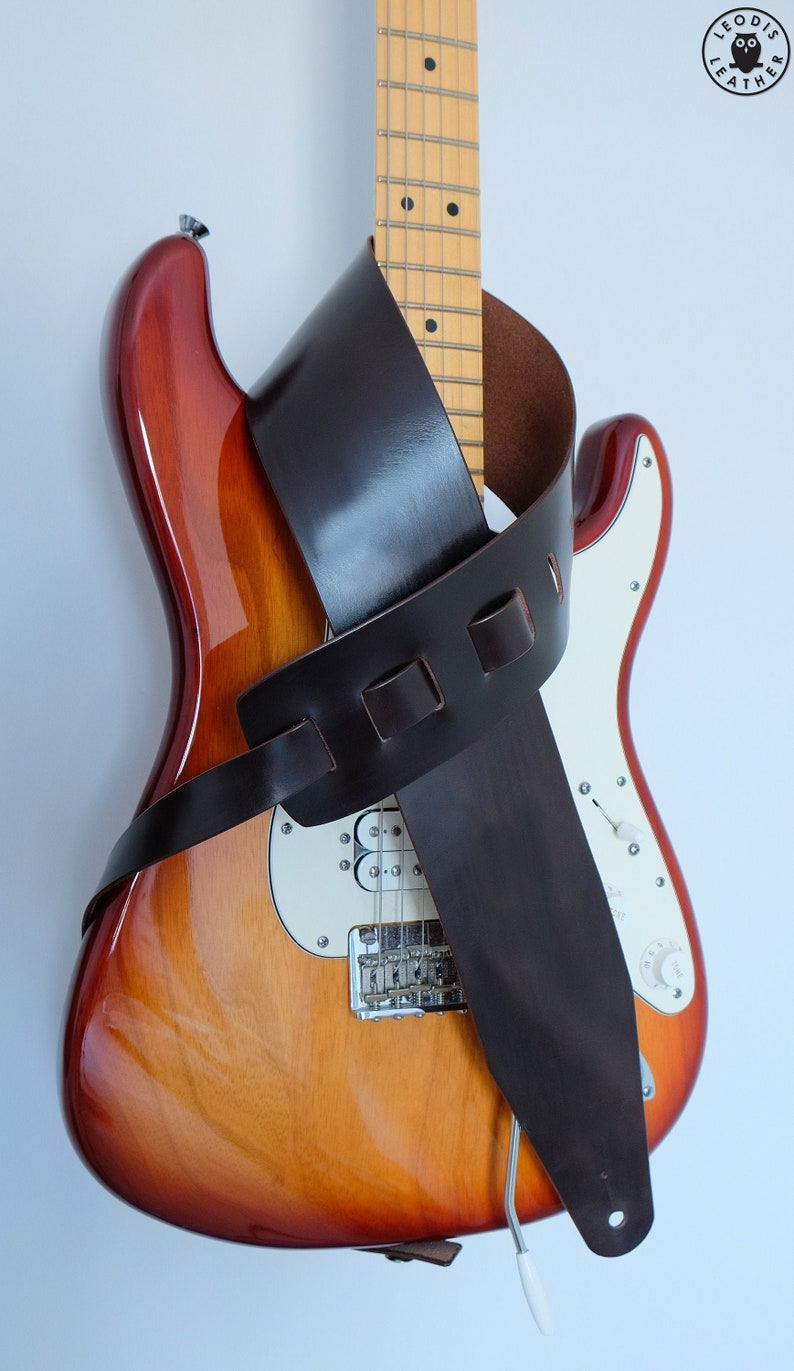 Leather Guitar Strap Dark Brown image 0