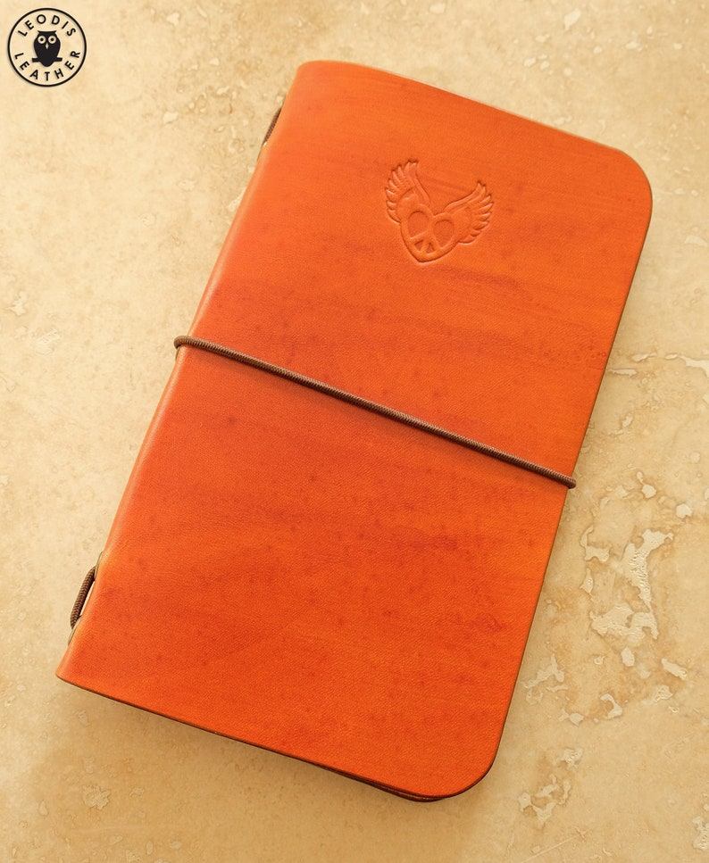 Leather Field Notes or Moleskine Cahier Notebook Cover Peace image 0