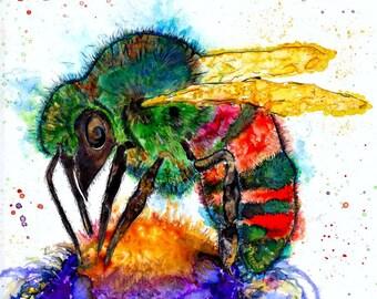 bee art print: bee gift totem beekeeper gift honey bee bumblebee gifts honeybee art honey bee decor insect art bee print bee art