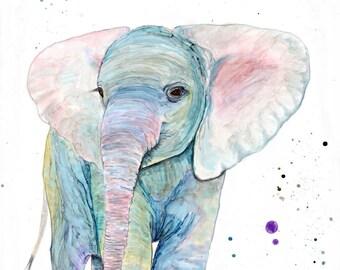 Elephant: nursery animal decor baby animal art elephant gift safari nursery elephant wall decor baby elephant elephant wall art totem