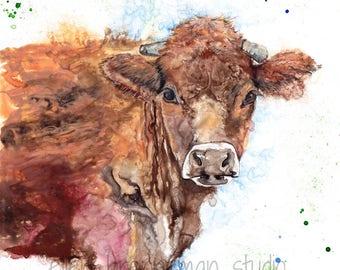 Cow art print: farmhouse decor kitchen decor totem nursery art rustic home decor rustic wall decor cow gifts cow art cow decor country decor
