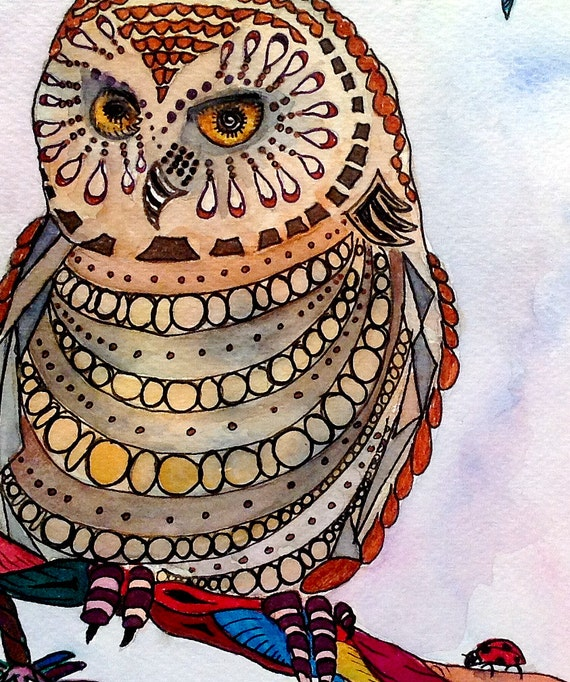 Owl art print - owl illustration, colorful owl art, owl watercolor, owl lover gift, owl wall decor, bird art print, bird lover art