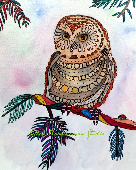 Owl totem illustration art print by Ellen Brenneman