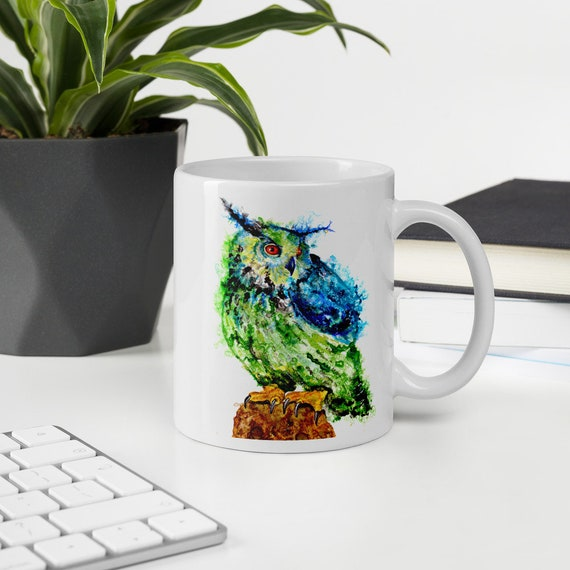 Colorful Owl art coffee mug by Ellen Brenneman
