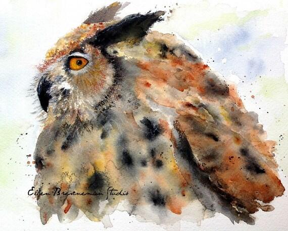 Watercolor Owl art print by Ellen Brenneman