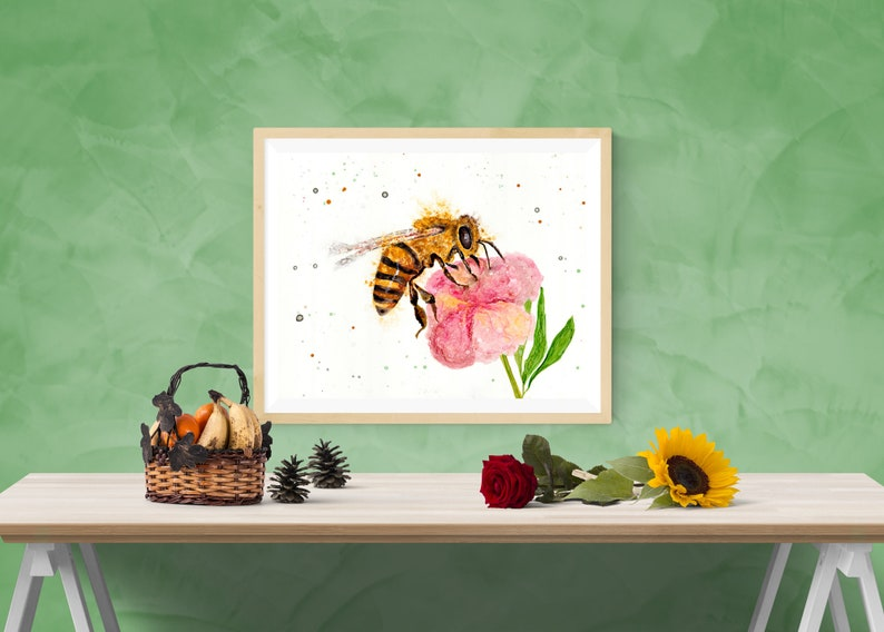Honeybee and flower art print by Ellen Brenneman image 0