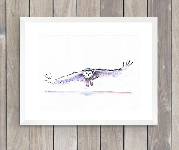 Snowy owl in flight watercolor fine art print by Ellen Brenneman
