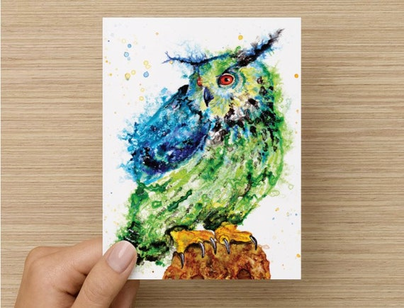 Set of four Owl spirit animal totem art blank greeting note cards by Ellen Brenneman