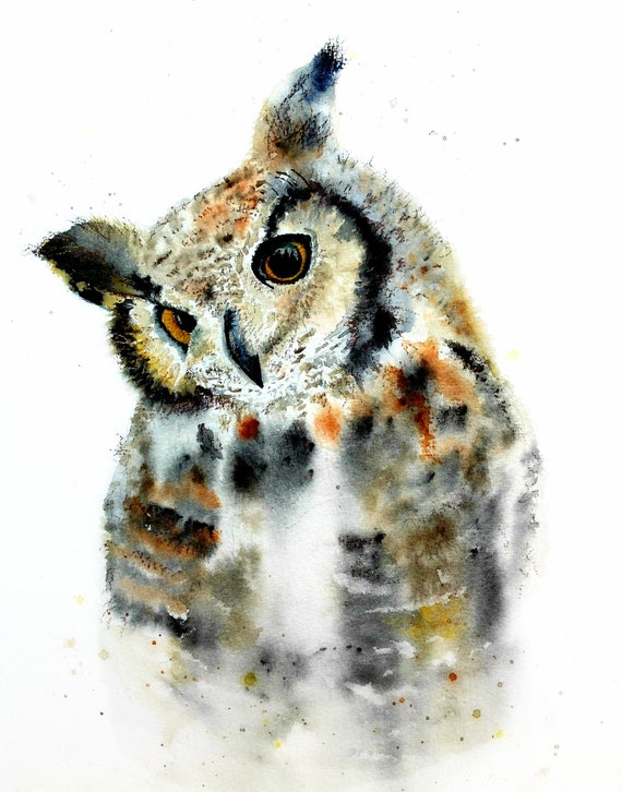 Cute owl art watercolor print by Ellen Brenneman