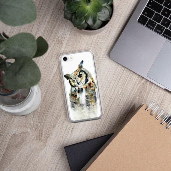 Cute owl watercolor art iPhone case