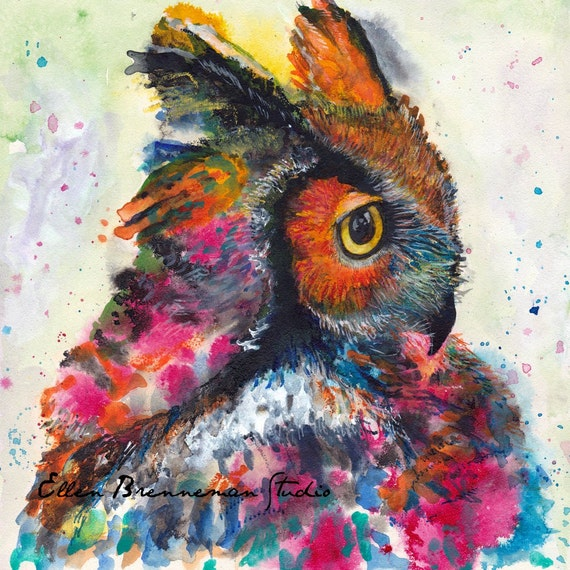 Whimsical owl portrait fine art print by Ellen Brenneman