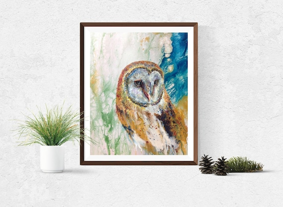 Colorful Barn Owl art print by Ellen Brenneman