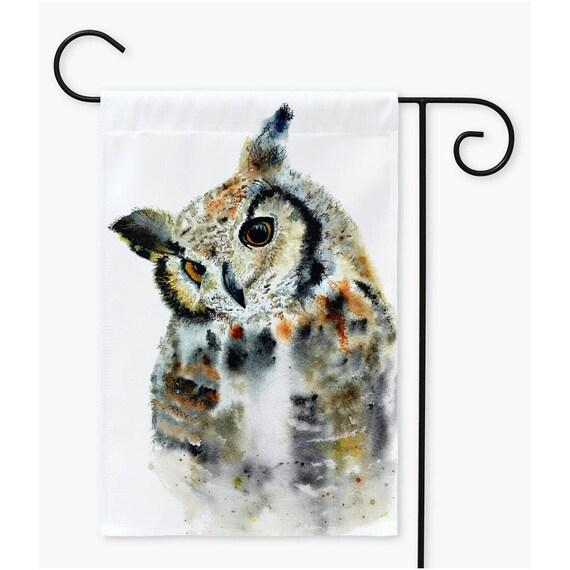 Owl Garden Flag, Great Horned Owl outdoor flag By Ellen Brenneman