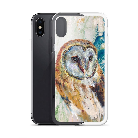 Colorful barn owl case for iPhone featuring the art of Ellen Brenneman