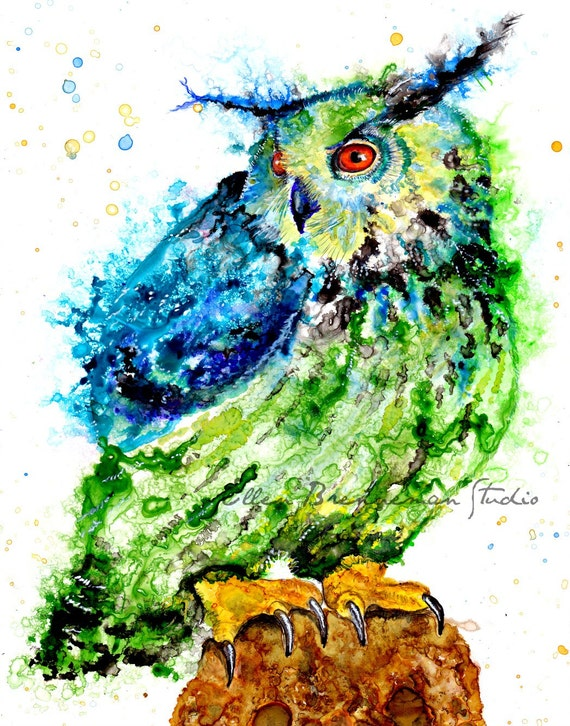 Colorful Owl art print by Ellen Brenneman
