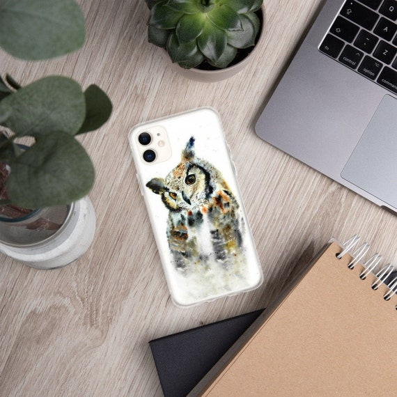 Cute watercolor owl art iPhone case by Ellen Brenneman