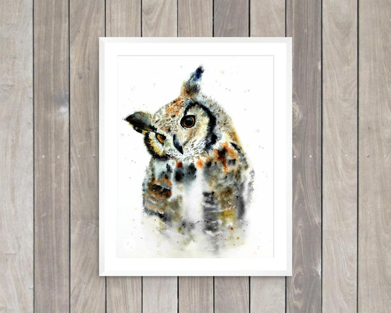 Great Horned owl watercolor art print by Ellen Brenneman