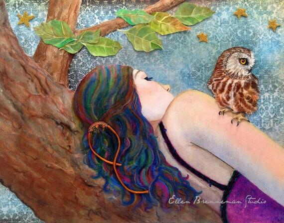 Woman and Owl art print wall decor by Ellen Brenneman