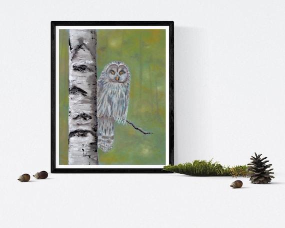 Owl sitting on birch tree original pastel drawing  by Ellen Brenneman