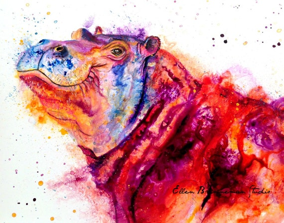 Colorful Hippo Art Print By Ellen Brenneman by Etsy