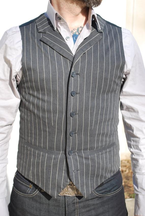 Gray Edwardian Style Pinstripe Waistcoat
