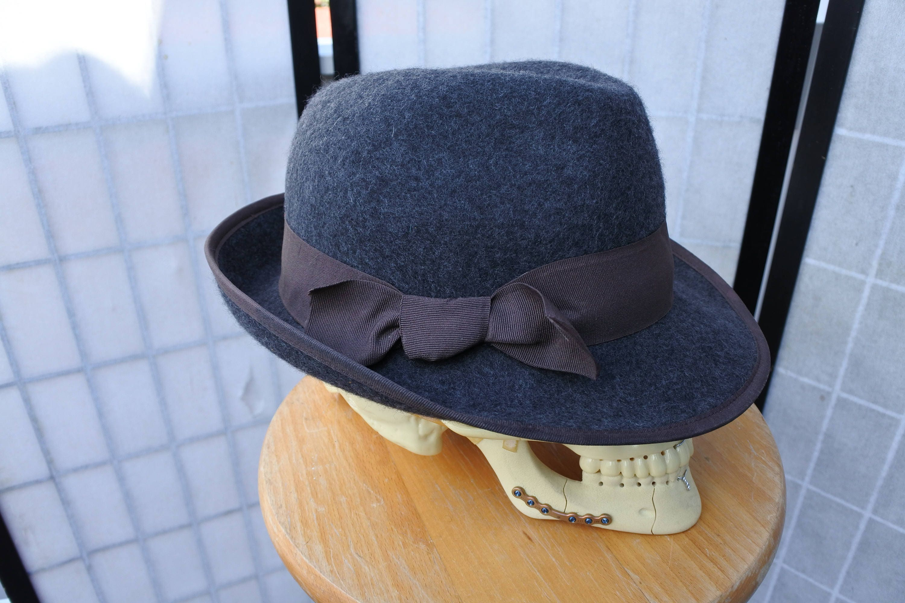 4a9e7372 Gray Fedora with Contrast Trim Trilby Hat | Etsy