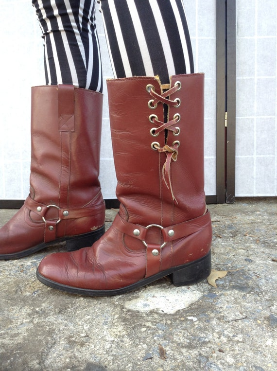 Oxblood Biker Boots, Harness Boots