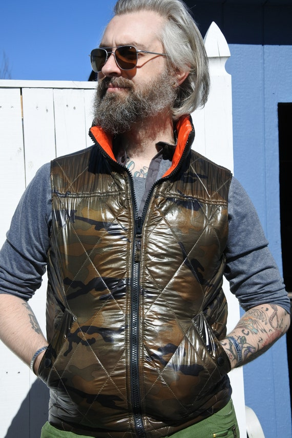 Camo Quilted Vest, Puffy Vest, Scifi/ Cyberpunk Lo