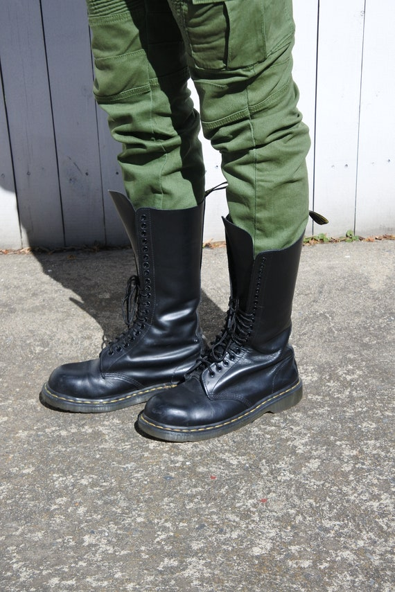 Dr.Martens 1914 14-Eyelet Black Womens Smooth Leather Mid-calf Boots