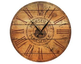 "Marseille Wood Wall Clock, 24"" Outdoor Safe Clock on Cedar, Unique and Rustic Wall Decor (MSC24)"