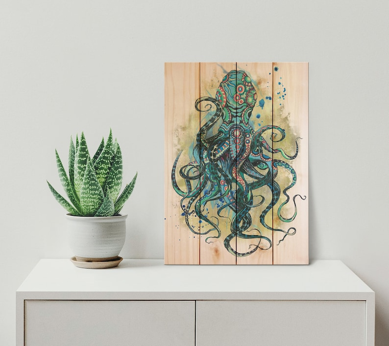 nautical garden decor.htm colorful blue octopus ocean and nautical wood pallet art etsy  ocean and nautical wood pallet art
