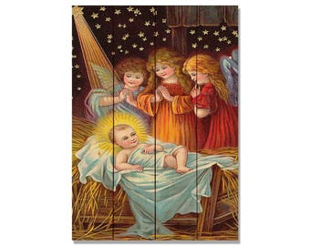 Holy Night Holiday Art, Nativity Festive Wall Hanging, Home Decor, Gift Ideas for Christmas (WHON)