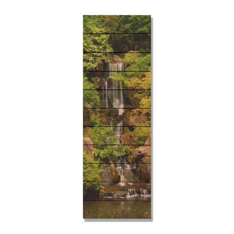 Forest Waterfall On Wood Wooden Wall Art Home Decor Indoor Etsy
