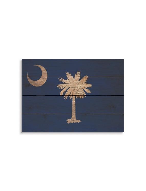 South Carolina State Flag On Wood Pallet South Carolina Flag Etsy