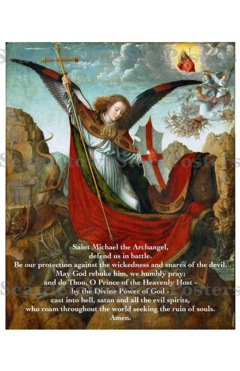graphic relating to St. Michael the Archangel Prayer Printable named St. Michael the Archangel Prayer Poster Spiritual Print