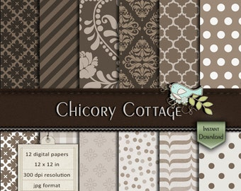 INSTANT DOWNLOAD - Digital Scrapbooking Paper - All About Browns
