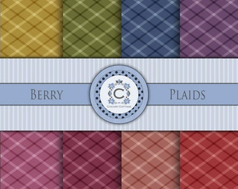 Digital Scrapbooking Paper - Berry Plaids
