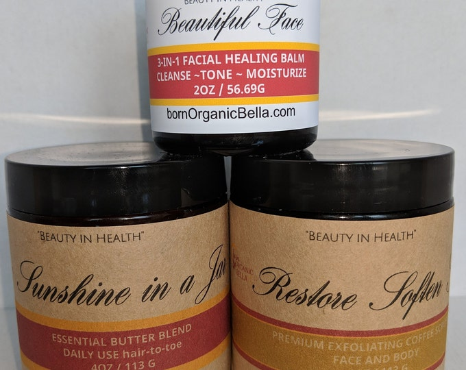 Beauty Trio (Coffee Scrub, Essential Butter Blend, Facial Healing Balm)