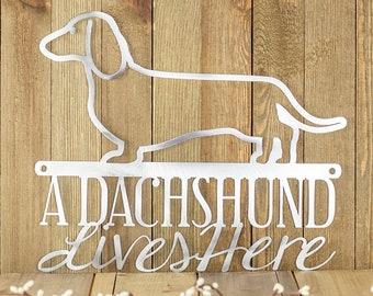 Metal Laser Cut Sign - Dachshund Gift - Beware of Dog Sign