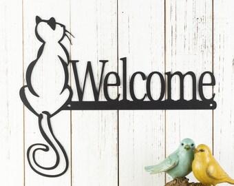 Cat Welcome Sign, Metal Wall Art, Cat Lover Gift, Outdoor Welcome Plaque